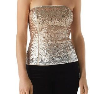 WHBM gold sequin strapless top, LIKE NEW!!